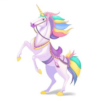 Unicórnio branco. cabelo arco-íris. animal bonito fantasia.