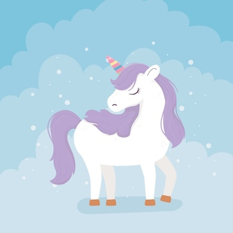 Unicórnio cabelo roxo arco-íris chifre fantasia sonho mágico bonito desenho animado azul fundo ilustração