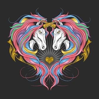 Unicórnio cheio de arco-íris de cor do arco-íris, unicórnio duplo fazem a forma do coração. o trabalho de arte é em camadas editáveis,