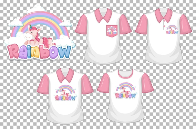 Unicórnio com logotipo do arco-íris e conjunto de camisa branca com manga curta rosa isolado