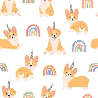 Unicórnio corgi kawaii com chifre colorido, arco-íris nas costas, cachorrinho mágico com rosto bonito. padrão sem emenda canino em fundo branco. mão desenhada ilustração moderna da moda em estilo cartoon plana