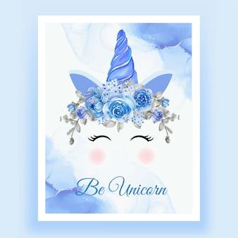 Unicórnio coroa aquarela flor azul