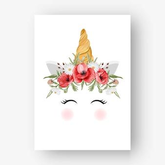 Unicórnio coroa aquarela flor papoula vermelha