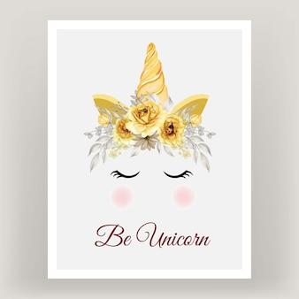 Unicórnio coroa aquarela flor rosa ouro amarelo.