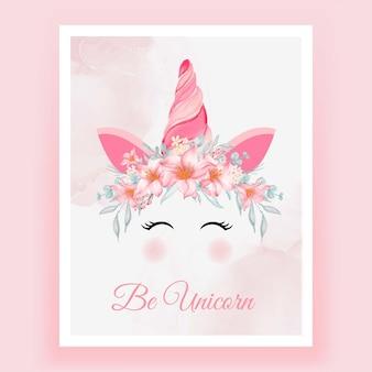 Unicórnio coroa aquarela flor rosa pêssego Vetor Premium
