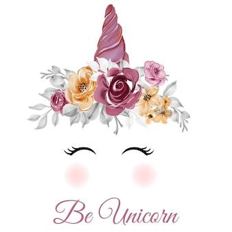 Unicórnio coroa aquarela flor rosa rosa laranja ilustração desenhada à mão
