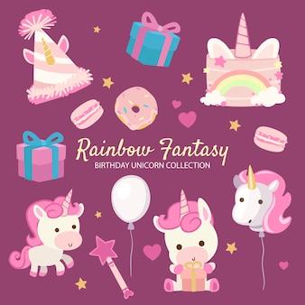 Unicórnio de aniversário de fantasia de arco-íris