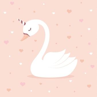 Unicórnio de cisne fofo em fundo rosa.