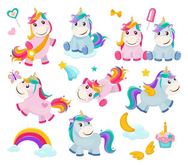 Unicórnio de desenho animado. personagens fofinhos engraçados de conto de fadas ilustrações de animais felizes de pônei mágico.