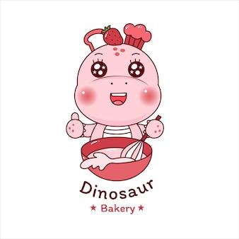 Unicórnio de dinossauro fofo cozinhando bolo de morango para loja de logotipo de padaria