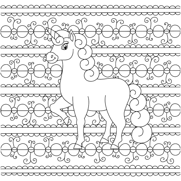 Unicórnio de fada mágica cavalo bonito página do livro para colorir para crianças padrão incomum