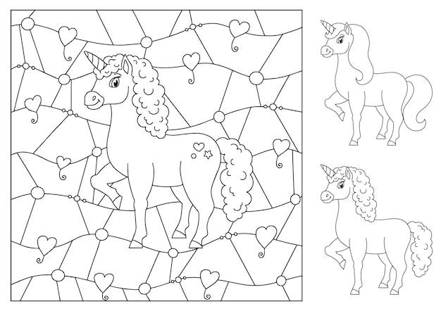 Unicórnio de fada mágica página do livro para colorir de cavalo bonito para crianças Vetor Premium