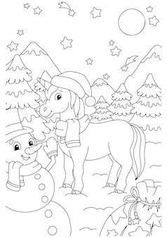 Unicórnio de fadas mágicas e boneco de neve com presentes cavalo bonito para colorir página para crianças