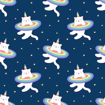 Unicórnio de gatinho mágico padrão sem emenda, arco-íris, céu estrelado. um gato branco bonito voa no espaço. ilustração para crianças. imprimir para embalagem, tecido, têxtil, papel de parede.