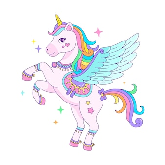 Unicórnio de pégaso bonito de desenho animado com juba de arco-íris