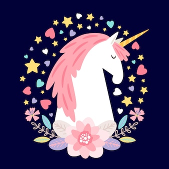 Unicórnio de personagem de desenho animado com flores, corações e estrelas