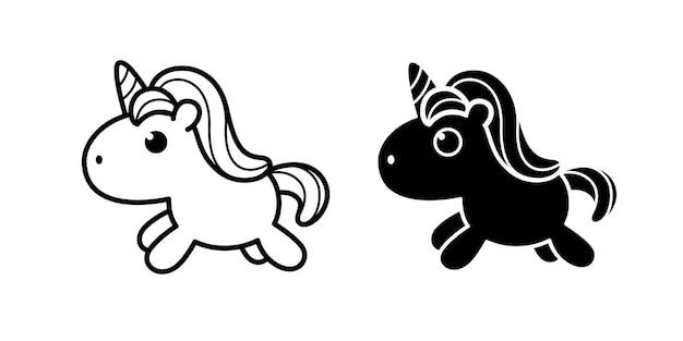 Unicórnio de pônei fofo em estilos de doodle plano preto e branco ilustração em vetor doodle fofo