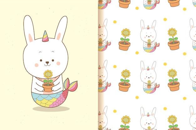 Unicórnio de sereia coelho bonito segurando um girassol com padrão sem emenda