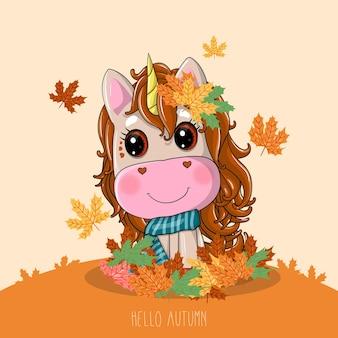 Unicórnio desenhado à mão com outono