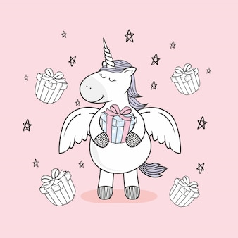 Unicórnio doodle feliz aniversário presente dos desenhos animados