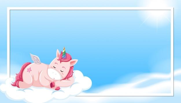 Unicórnio dormindo na beira da nuvem