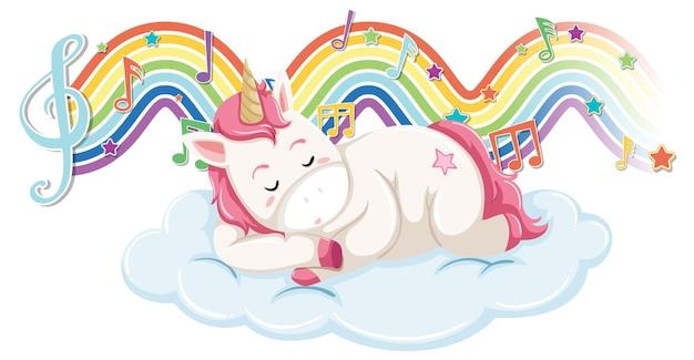 Unicórnio dormindo na nuvem com símbolos melódicos na onda do arco-íris