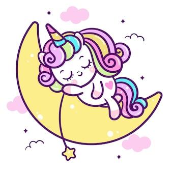 Unicórnio dormir na lua dos desenhos animados