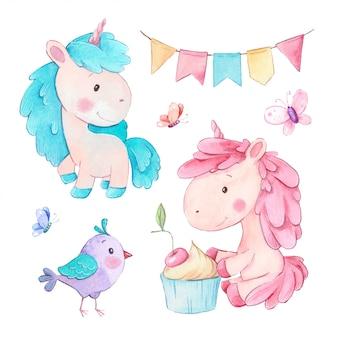 Unicórnio dos desenhos animados em aquarela com cupcake e aniversário acessórios