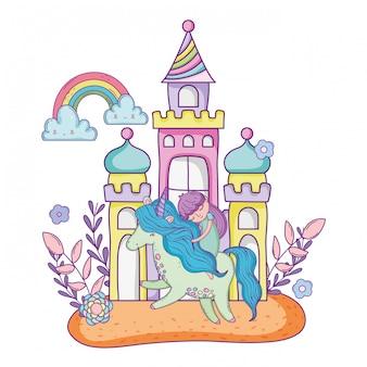 Unicórnio e princesa com castelo na paisagem