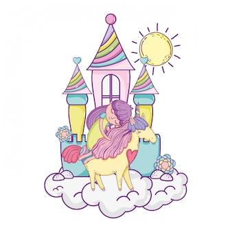 Unicórnio e princesa com castelo nas nuvens