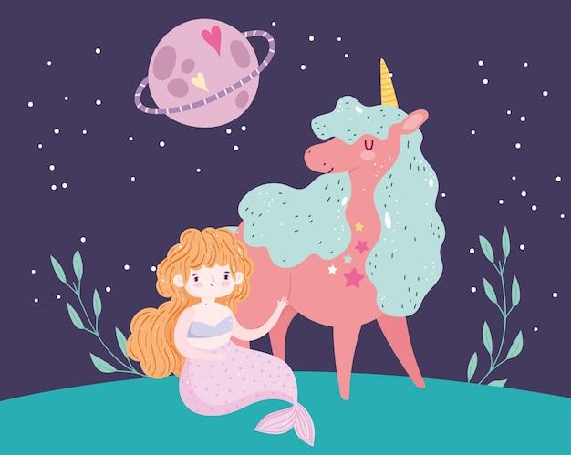 Unicórnio e princesa mermair planeta céu paisagem cartoon