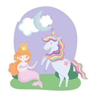 Unicórnio e sereia personagem grama nuvem lua cartoon