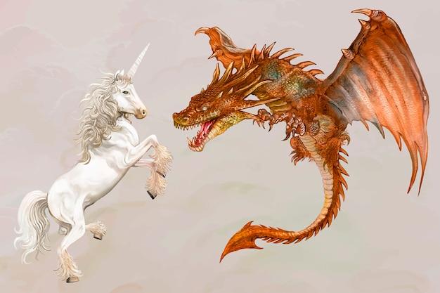 Unicórnio e um dragão
