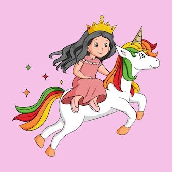 Unicórnio e uma rainha de desenho animado