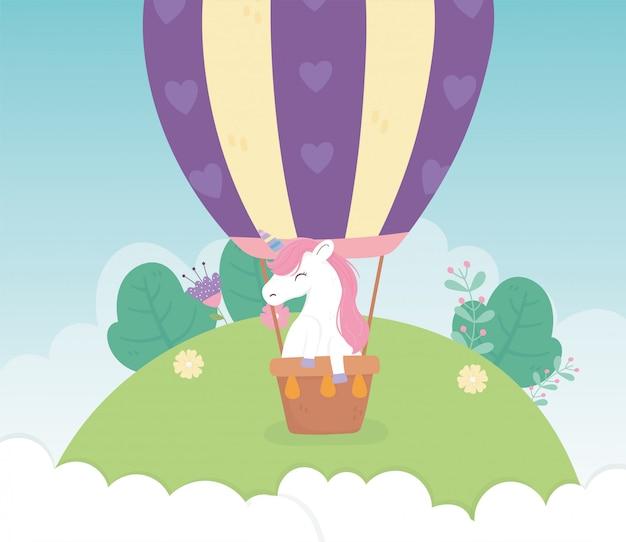 Unicórnio em balão de ar flores fantasia mágica dos desenhos animados