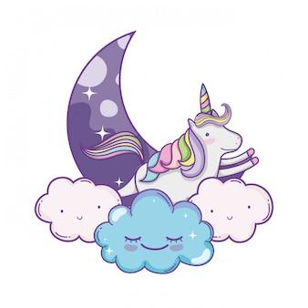 Unicórnio em desenhos animados bonitos de nuvens