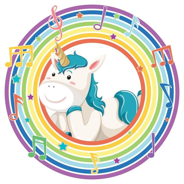 Unicórnio em moldura redonda de arco-íris com símbolo de melodia