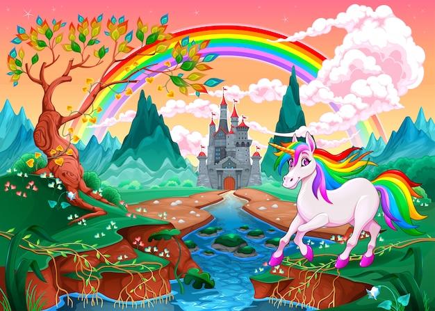 Unicórnio em uma paisagem de fantasia com arco-íris e castelo