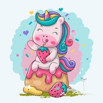 Unicórnio engraçado dos desenhos animados no bolo doce.