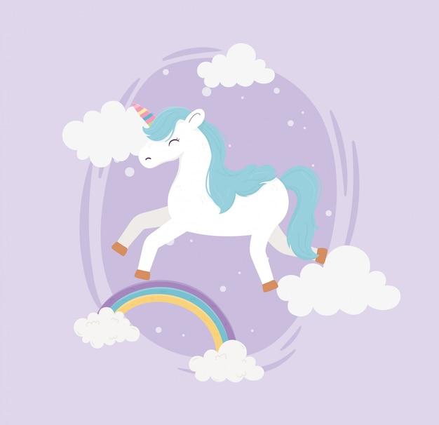 Unicórnio feliz arco íris nuvens fantasia sonho mágico bonito dos desenhos animados fundo roxo ilustração