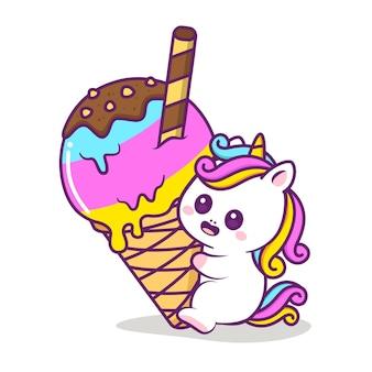 Unicórnio feliz e fofo brincando no sorvete