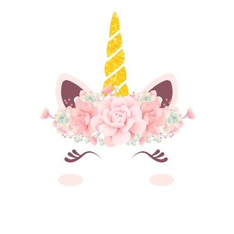 Unicórnio floral fofo
