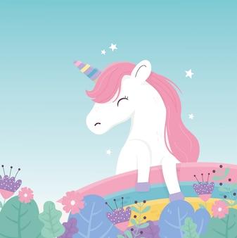 Unicórnio flores arco-íris decoração fantasia sonho mágico bonito dos desenhos animados