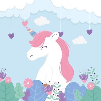 Unicórnio flores corações nuvem céu fantasia sonho mágico bonito dos desenhos animados