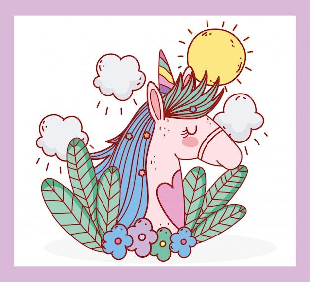 Unicórnio flores folhas dia ensolarado fantasia mágica dos desenhos animados