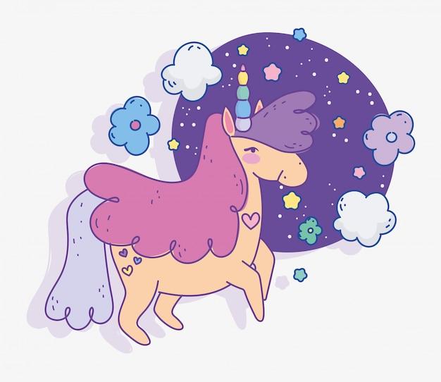 Unicórnio flores nuvens estrelas fantasia mágica