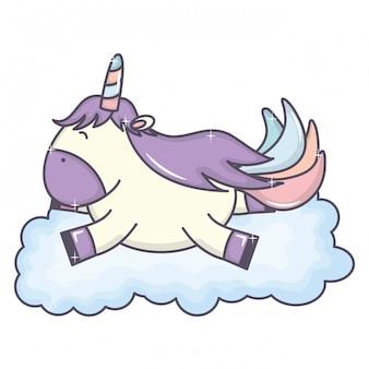 Unicórnio fofo adorável, flutuando no personagem de fada de nuvem