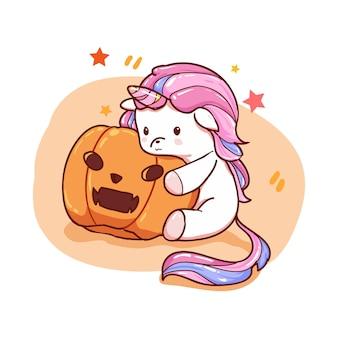 Unicórnio fofo com abóbora de halloween