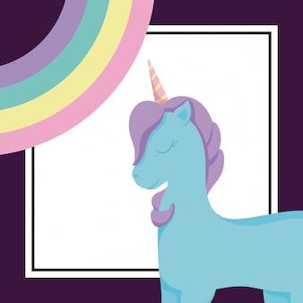 Unicórnio fofo com arco-íris de conto de fadas