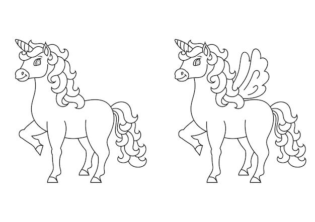 Unicórnio fofo com asas cavalo mágico de fadas para colorir página para crianças